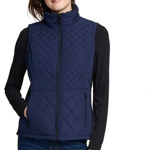 NWT Andrew Marc Blue Puff Quilted Vest SZ L